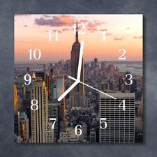Glass Wall Clock Kitchen Clocks 30x30 cm silent Skyline Grey