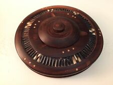 ANTIQUE VINTAGE EBONY PORCUPINE QUILL DESK ACCESSORY LIDDED OVAL HOLDER ASHTRAY