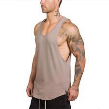 Gym Men Slim FIt Vest Bodybuilding Tank Top Muscle Clothing Stringer T-Shirt