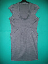 Ladies Size 12 Black/Grey Check Cap Sleeved Fitted Dress by Atmosphere