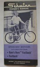 SCHWINN 1967 Bicycle FASTBACK & RAMS HORN Stingray Owners Manual w Guarantee car