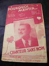 Partition Pourquoi mentir Le chanteur sans nom 1946 Music Sheet