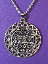 "Large Sri Yantra Meditation Pendant 18"" (46cm) Chakra Necklace Yoga Chain     d5"