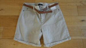 BNWT Ladies Stone Chino Style Shorts with Tan Belt, UK Size 10