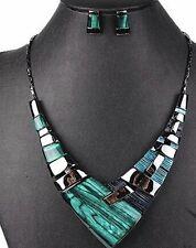 Danish Design Dramatic Green & Black Necklace & Earrings Set SALE!