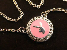 Iconic Pink Playboy Enamelled and Silver Bunny Round Pendant Necklace Gift Boxed