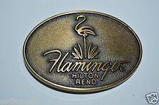 WOW Vintage Hilton Flamingo Hotel Casino Brass Tone Belt Buckle RENO NV MINTY
