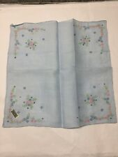 "Vtg Linen Handkerchief Hankie Blue Embroidered Floral Corners 11""Org Sticker"