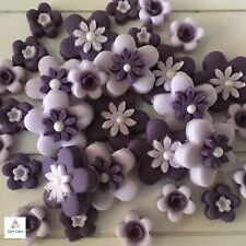 32 Edible PURPLE FLOWERS Sugar Cake Cupcake Decorations Toppers Wedding Birthday
