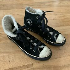 Converse Black Suede Sherpa Lined Hi-tops, Sz UK 6.5 Womens, High Top Trainers
