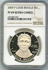 2009-P Louis Braille PROOF Silver Dollar - NGC PF 69 Ultra Cameo - SM66