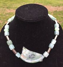 SHARON SADAN Roman Arch Green Roman Glass 925 Sterling Silver Necklace Israel