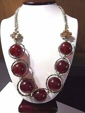"LONG CONTEMPORARY ""BALL"" NECKLACE ROOTBEER COLOR CHAIN NECKLACE COLDWATER CREEK"