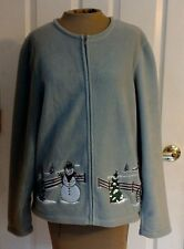 Embellished Fleece Cardigan Womans XL Zipper Croft & Barrow Green Snowman Winter