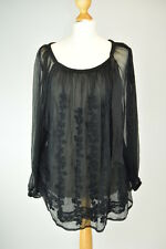 TWINSET by SIMONA BARBIERI Black Lace Loose Summer Blouse UK 16 EU 44