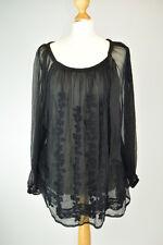 TWINSET by SIMONA BARBIERI Black Lace Loose Summer Blouse UK 16 EU 44