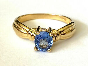CID Natural Blue Sapphire 14K Yellow Gold Ladies Ring Size 7.75 By Clyde Duneier