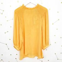 NWT Current Air Blouse Size Large Light Orange Smocked Balloon Sleeves Silky Top