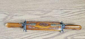 Antique Vintage Brass & Hand Carved Wood Sheath Carving Knife and Fork Set India