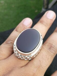 Rare Huge Dark Red Yemeni Aqeeq عقيق يماني Hand Crafted 925 Sterling Silver Ring