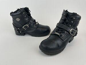 Harley Davidson Tegan Lug Sole Zip-Up Leather Boots Black 84424 Women's Size 8