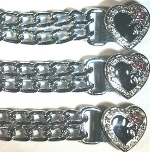 3 HEART LADIES DIAMOND CUT CHROME MOTORCYCLE BIKER VEST EXTENDERS MADE IN USA