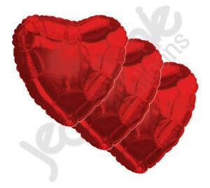 "3 pc - 18"" Solid Red Heart Balloon Wedding Baby Bridal Shower Birthday Luau Love"