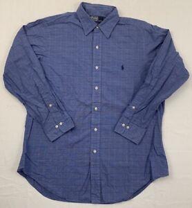polo ralph lauren andrew pony logo glen plaid button down shirt sz 16 x 32/33