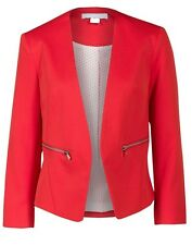 New women Ladies gorgeous red zip pocket blazer jacket size 12