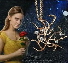 Movie Beauty and the Beast Belle Halloween Gold Rose Pendant Necklace Fancy Gift