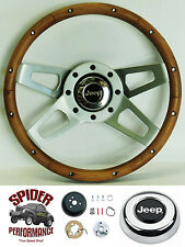 "1976-1986 CJ5 CJ7 steering wheel JEEP 13 1/2"" WALNUT 4 SPOKE steering wheel"
