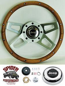 """1976-1986 CJ5 CJ7 steering wheel JEEP 13 1/2"""" WALNUT 4 SPOKE"""