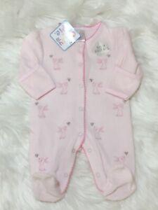 Baby Girl  sleepsuit baby grow Spanish Style velour romper Rabbit pink 0 - 9 m