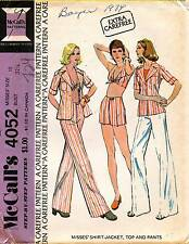 1970's VTG McCall's Misses' Shirt-Jacket,Top & Pants Pattern 4052 Size 10 UNCUT