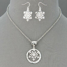 Silver Chain Finish Snowflake Christmas Theme Pendant Necklace With Earrings