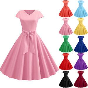 Damen 50er Vintage Rockabilly Petticoat Hepburn Cocktail Partykleid Swing Kleid