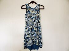 UO Pins & Needles Chiffon Abstract Floral Knee Length Dress XS Blue Flowers