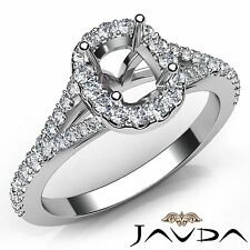 Diamond Engagement 18k White Gold Halo Prong Cushion Cut Semi Mount Ring 0.5Ct