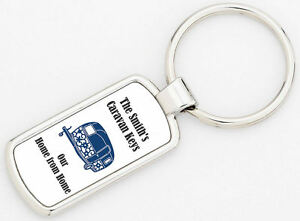 Personalised Home From Home Caravan Keyring Keys Supplied With Gift Box.