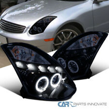 Glossy Piano Black For Infiniti 03-07 G35 2Dr Coupe Tinted Projector Headlights