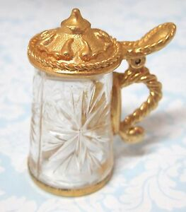 Older Thimble Cut Glass German Stein w Working Lid in Gold Metal Star Design SH