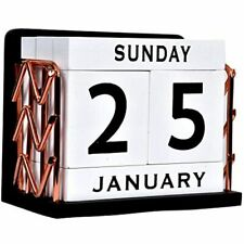 Shyi Home And Office Decor Vintage Wooden Perpetual Desk Calendar Block