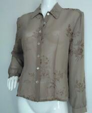 Designer JAEGER floral chiffon shirt size 16 --USED ONCE-- long sleeve beige
