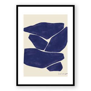 Abstract Framed Print , Blue Wall Art ,  Minimal Modern Room Decor