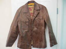 RIVER ISLAND HEAVY MEN'S LEATHER BROWN DISTRESSED JACKET - MED/LARGE