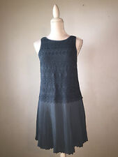 4P) LOFT Slate Blue Upper Crochet to Chiffon Pleated Swingy Skirt  Dress