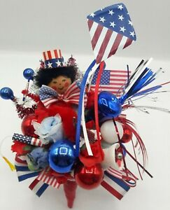 Vintage HANDMADE Memorial Day Patriotic Corsage Decoration Flags Glass Millinery