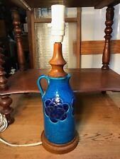 Retro Mid 20th Century Italian Pottery Bitossi Rimini Blue Lamp Teak Base Neck