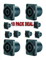10PCS Black Speakon 4 Pin Female Jack Compatible Audio Speaker Cable Connector