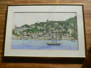 Ink and Watercolour Painting of Harbour (S.E.Asia?)